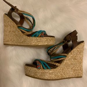 "Cite 5"" woven wedge sandal size 7"
